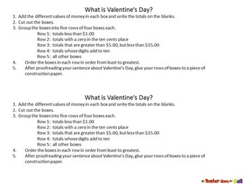 Valentine's Day Math -An Add and Order Decimal Activity