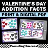 Valentine's Day Math Activities, Kindergarten Addition Facts to 10 Task Cards