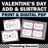Valentine's Day Math Activities Kindergarten Addition and Subtraction Task Cards
