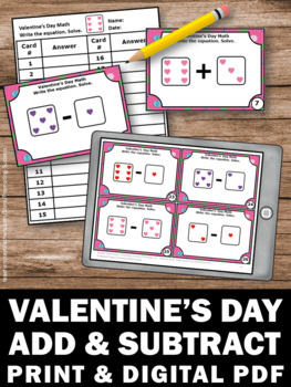 Valentine S Day Math Activities Kindergarten Addition And Subtraction Task Cards