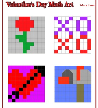 Valentine's Day Math Art - Fractions, Decimals, Percents