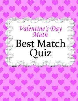 Valentine's Day Math Activity - Best Match Quiz