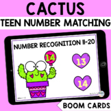 Valentines Day Math Boom Cards : Cactus TEEN Number Recogn