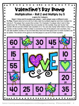 Valentine's Day Free: Valentine's Day Math Bump Games