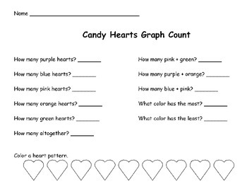 Valentine's Day Math Candy Heart Graph