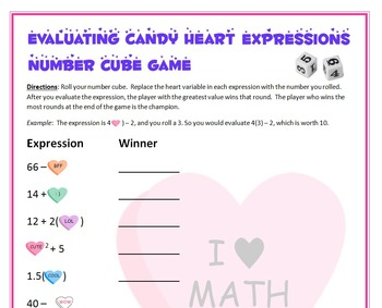 Valentine's Day Math - Candy Heart Number Cube Game - Evaluating Expressions