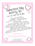 Valentine's Day Math Center and Literacy for 1st and 2nd Grade