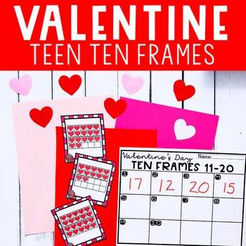 Valentines Day  Math Center Activity for Kindergarten Teen Ten Frames 11-20