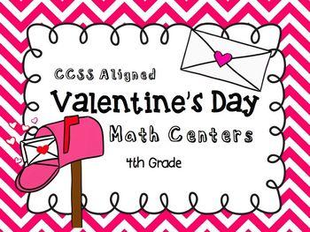 Valentine's Day Math Centers CCSS 4th Grade