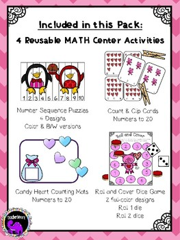 Valentines Day Math Centers For Kindergarten