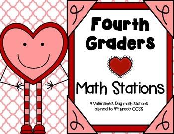 Valentine's Day Math Stations: Fourth Grade