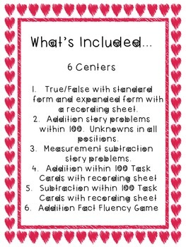 6 Valentine Themed Math Centers for 2nd Graders!