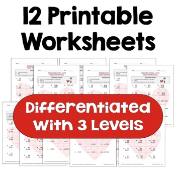 Valentine's Day Math: Decimal Worksheet Bundle (3 Levels)