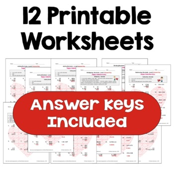 Valentine's Day Math: Decimal Worksheet Bundle (Differentiated with 3 Levels)
