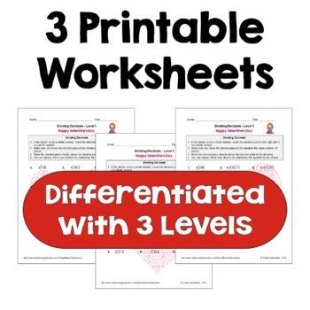Valentine's Day Dividing Decimals Worksheets (3 Levels)