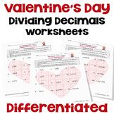 Valentine's Day Worksheets on Dividing Decimals | Printabl
