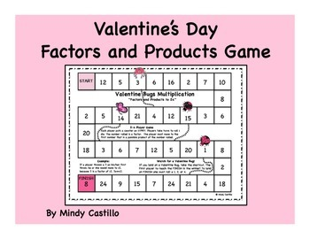 Valentine's Day Math- Factors and Products Game