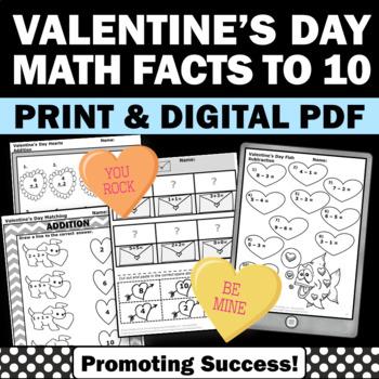 Valentines Day Math Activities, Kindergarten Addition and Subtraction Worksheets