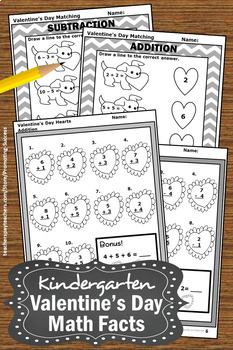 Kindergarten Valentines Day Math Worksheets, Addition & Subtraction Review