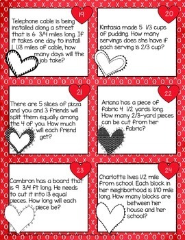 Valentine's Day Math- Dividing Fractions Task Cards