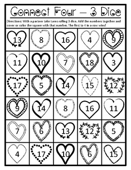 Valentines Day Math Game Add 3 Valentines Day Math Add 3 Valentines Addition