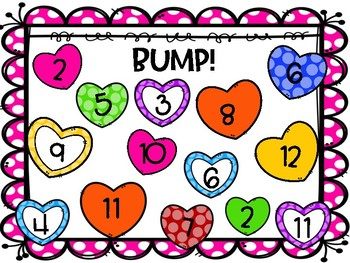 Valentines Day Math Games! (Bump, One More, One Less, Roll and Color)