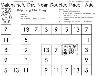 Valentine's Day Math Games - Near Doubles (Doubles Plus 1 or Doubles Minus 1)