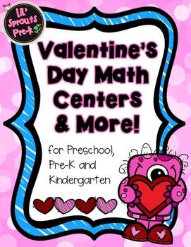 Valentine's Day Math Centers and Printables PreK Pre-K Kindergarten Preschool