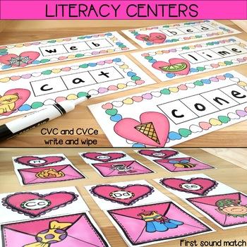 Valentine's Day Centers: Math & Literacy activities for Kindergarten