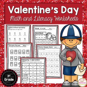Valentine's Day Math and Literacy Print and Go 1st Grade+Valentine's Day Cards