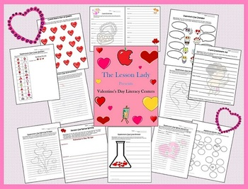 Valentine's Day Math & Literacy Worksheets & Activities for Centers