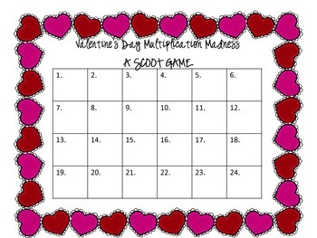 Valentine's Day Math Madness- A Scoot Game