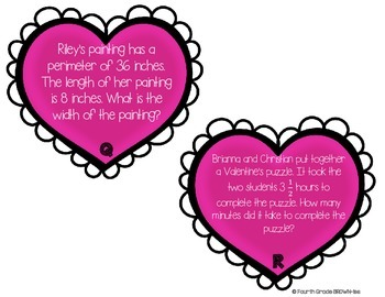 Valentine's Day Math: Multi-Step Word Problem SCOOT: 4th Grade