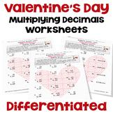 Valentine's Day Worksheets on Multiplying Decimals | Print