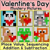 Valentine's Day Math Center - Color by Number Mystery Pictures