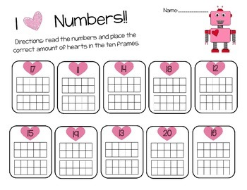 Valentines Day Math Numbers 11-20