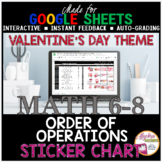 Valentines Day Math Order of Operations DIGITAL STICKER CHART Google Sheets
