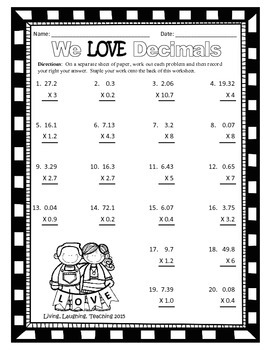 Valentine's Day Math Packet: Multiplying Decimals