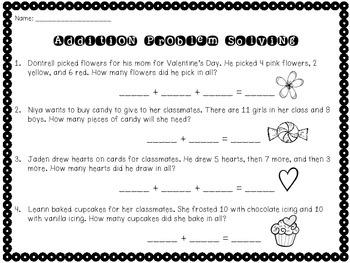 Valentine's Day Math Practice (1st-2nd)