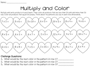 Valentine's Day Math Practice (3rd-4th)