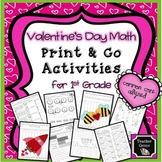 Valentine's Day Math Print & Go Activities First Grade - C