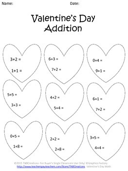 Valentine's Day Math Addition and Subtraction Worksheets