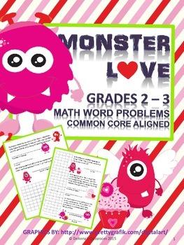 Valentine's Day Math Problems: 2nd-3rd Grade - Monster Love