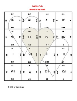 Valentine's Day Math Puzzle - Addition Facts