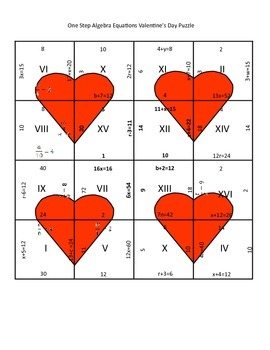 Valentine's Day Math Puzzle - Algebra One Step Equations