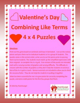 Valentine's Day Math Puzzle - Algebra -  Combining Like Terms