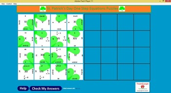 No Prep Computer Math Puzzles - St. Patrick's Day One Step Equations-Free