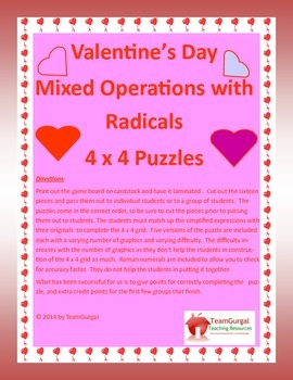 Valentine's Day Math Puzzle - Algebra - Radicals - Mixed Operations