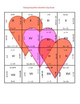 Valentine's Day Math Puzzle - Algebra - Solving Inequalities