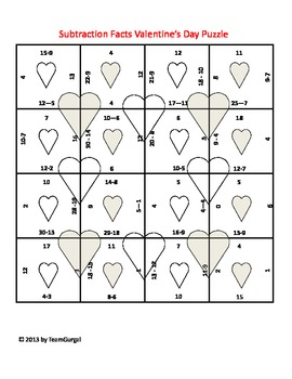 Valentine's Day Math Puzzle - Subtraction Facts